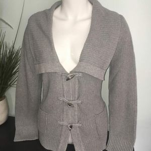 NWT CHAPS Gray Knit Sweater Jacket S